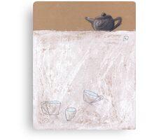 Black tea pot and three cups Canvas Print
