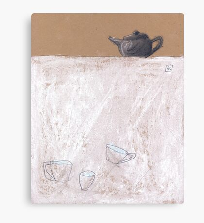 Black tea pot and three cups Canvas Print