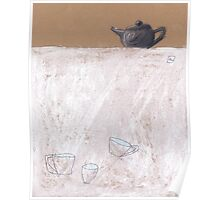 Black tea pot and three cups Poster
