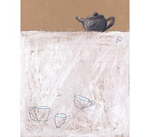 Black tea pot and three cups Photographic Print