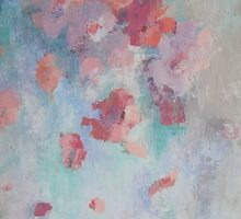 Abstract Soft Floating Flowers palette Knife Textured Painting by Chris Hobel