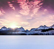 Little Redfish Lake Winter Sunset by Bonnie Kirkpatrick