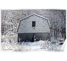 Old Barn after the Snow Poster
