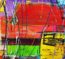 Crazy colourful abstract textured acrylic painting Sticker