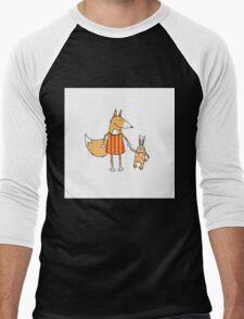 Fox and hare. Men's Baseball ¾ T-Shirt