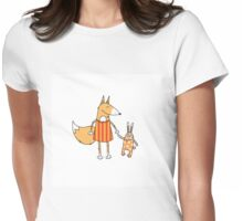 Fox and hare. Womens Fitted T-Shirt