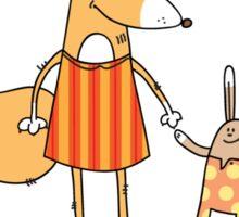 Fox and hare. Sticker