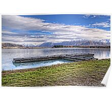 Ruataniwha Rowing Jetty and Ben Ohau Snow Poster