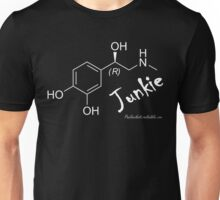 Adrenaline Junkie - white text Unisex T-Shirt