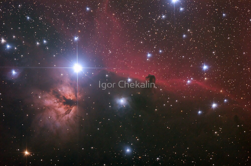"""Nebular comples in Orion's Belt. """"Horse head"""" and """"Flaming tree"""" nebulas. by Igor Chekalin"""