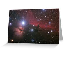 """Nebular comples in Orion's Belt. """"Horse head"""" and """"Flaming tree"""" nebulas. Greeting Card"""