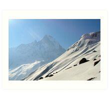 Snow slope above Annapurna Base Camp. Art Print