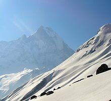 Snow slope above Annapurna Base Camp. by photoartindia