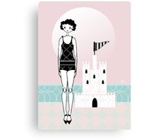 1920s Flapper Gatsby Girl Beach Sand Castle  Canvas Print