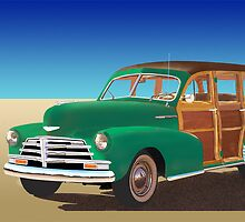 """1948 Chevrolet Woody titled """"No Beach In Sight"""" by buzhitchcock"""