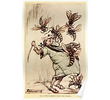 Gulliver's Travels by Jonathan Swift art Arthur Rackham 1899 0133 Gulliver's Combat with Wasps Poster