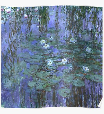 Monet - Blue Waterlilies Poster