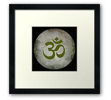 Om Ohm Namaste Yoga Circle  - Black Green Framed Print