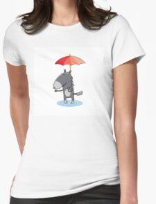 Wolf under an umbrella. Womens Fitted T-Shirt