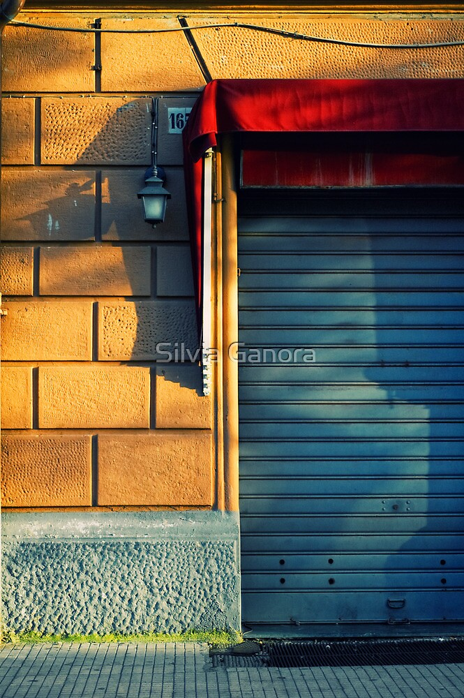 Closed shop door at sunset by Silvia Ganora