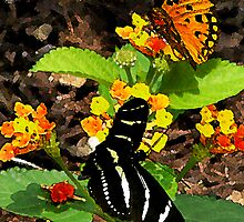 Monarch Butterfly and Zebra Butterfly by Susan Savad