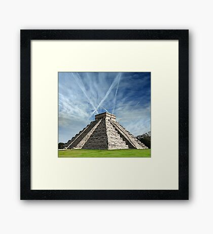 Ancient Chichen Itza Mayan Kukulcan pyramid in Mexico Framed Print