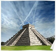 Ancient Chichen Itza Mayan Kukulcan pyramid in Mexico Poster