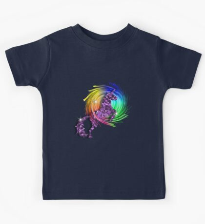Sparkly Glittery Purple Unicorn And Rainbow Kids Tee