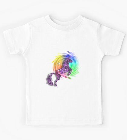 Sparkly Glittery Purple Unicorn And Rainbow Kids Tee