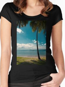 Tropical Landscape Women's Fitted Scoop T-Shirt