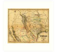 Antique Map of Texas, 1846 Art Print