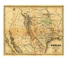 Antique Map of Texas, 1846 Photographic Print