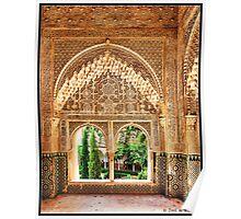 Granada. Mirador de Daraxa (1354-1359) desde la sala de las Dos Hermanas. Poster