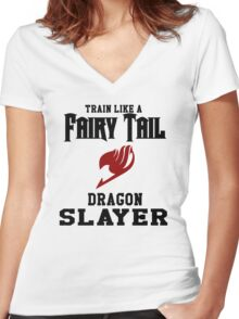 Fairy Tail - Train like Natsu! Women's Fitted V-Neck T-Shirt