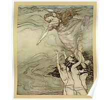 Comus Illustrated by Arthur Rackham 1921 0155 Beneath the Waves Poster
