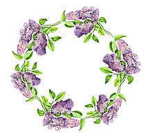 Blooming lilac branch wreath. Floral pattern. Photographic Print