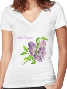 Blooming lilac branch pattern. Pink and violet watercolor flowers . Floral pattern.  Women's Fitted V-Neck T-Shirt