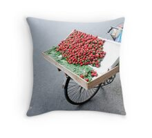 Parked Strawberries Throw Pillow