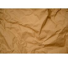 Crumpled Brown Parcel Paper Pattern Texture Background Photographic Print