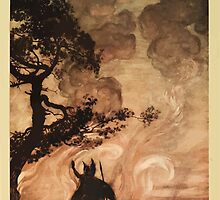 The Rhinegold & The Valkyrie by Richard Wagner art Arthur Rackham 1910 0305 Wotan Turns and Looks back at Brunnhilde by wetdryvac