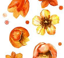 Watercolor isolated tulips and red watercolor splashes.  by Mehendra