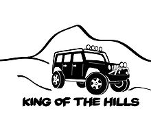 'King of the Hills' Jeep Wrangler 4x4 Sticker T-Shirt Design - Black by TheStickerLab
