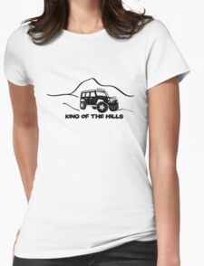 'King of the Hills' Jeep Wrangler 4x4 Sticker T-Shirt Design - Black Womens Fitted T-Shirt