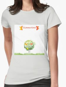 Blooming watercolor tree Womens Fitted T-Shirt