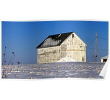 Blue Sky and White Barn Poster