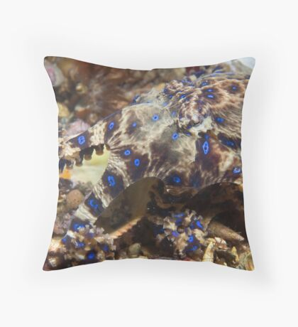 Blue Ring Strolling. Throw Pillow