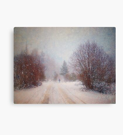 The Man in the Snowstorm Canvas Print