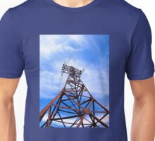 High-voltage tower on blue sky Unisex T-Shirt