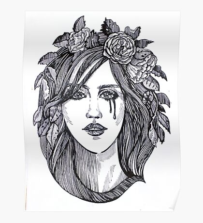 Beautiful crying woman with roses wreath. Poster