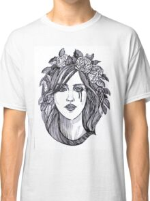 Beautiful crying woman with roses wreath. Classic T-Shirt